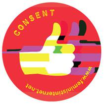 Text: Feminist Principles of the internet. On the Right side is the symbol for intersectionality