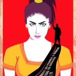 "An illustration of Qandeel Baloch wearing saree with the words ""Masculinity so fragile, a woman only needs to breathe to hurt it"""