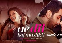 The poster for Ae Dil hai Mushkil, with Anushka Sharma and Ranbir kapoor on the left side of the picture and Ranbir Kapoor and Aishwarya Rai on the right side. The words Ae Dil Hai mushkil: Male Entitlement is written on the poster