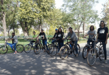 Girls on Bikes on the streets of Lahore, Pakistan