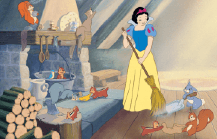 Snow White performing household chores