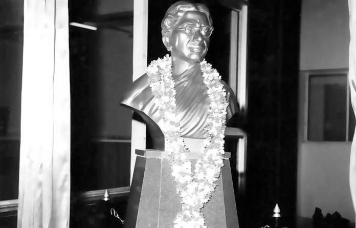 A bust of Dr Muthulakshmi Reddy at the Cancer Institute, Chennai