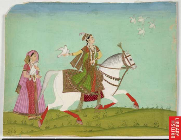 Chand Bibi hawking, an 18th-century painting. Image Source: Wikimedia Commons