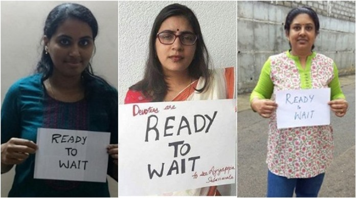 A section of Kerala women have united in their fight to obey the religious traditions and are ready to wait to enter Sabarimala. (Source: Twitter)