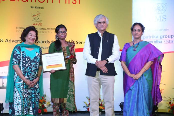 P. Sainath presented the award to Swati Singh
