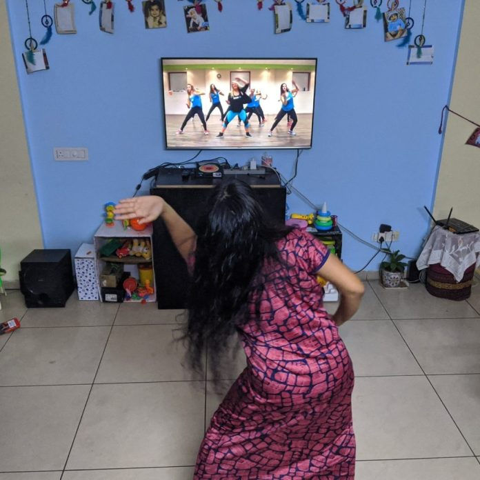 Women at Leisure: During COVID lockdown, Sneha tries to exercise in the day when she is done with her office work and her one year old daughter is asleep.