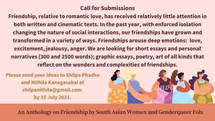 Call For Submissions : An Anthology on Friendship by South Asian Women and Genderqueer Folx