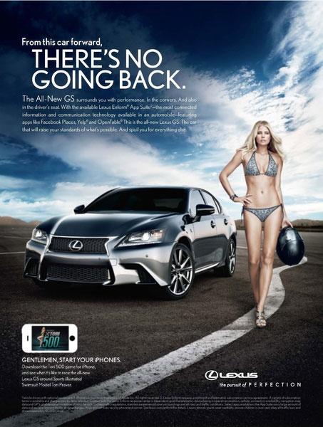 Because everyone knows that when a woman drives a Lexus she does so while wearing a bikini and a helmet.