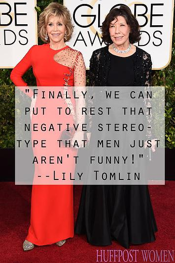 Jane Fonda, left, and Lily Tomlin arrive at the 72nd annual Golden Globe Awards at the Beverly Hilton Hotel on Sunday, Jan. 11, 2015, in Beverly Hills, Calif. (Photo by Jordan Strauss/Invision/AP)