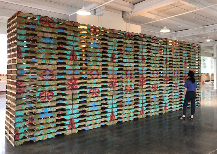 Soheila Esfahani Cultured Pallets SAIB 2018 acrylic on wooden shipping pallets