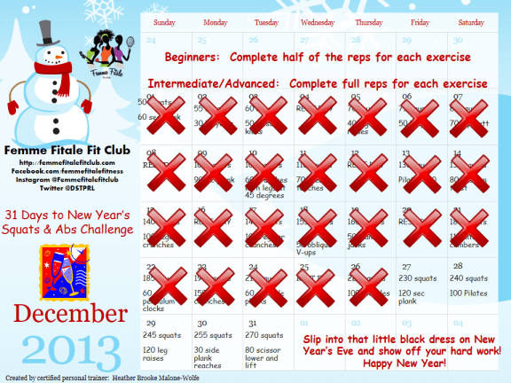 Day 27 ab and squat December challenge - only 4 days left of this challenge.  Who is still with us?