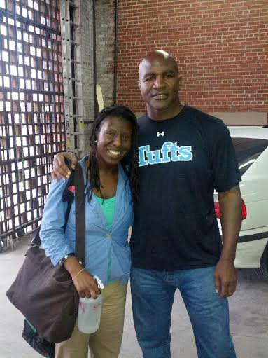 Boxer Charise with Evander Holyfield heavyweight boxer