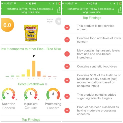 Mahatma Yellow Rice Food Score