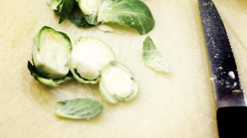 Halved brussels sprouts