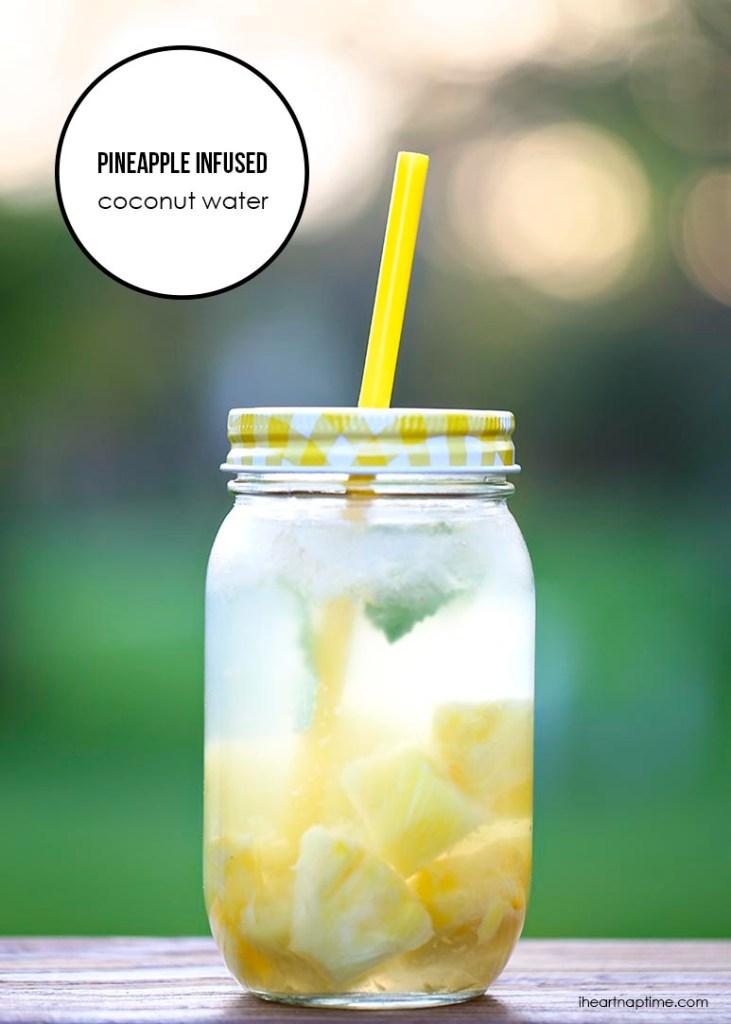 Pineapple-infused-coconut Major Reasons to Drink Water + spa water recipes #spawater #detox #waterdetox #watercleanse #cucumberwater #infusedwaterrecipe #drinkwater #water #hydration #hydrationnation