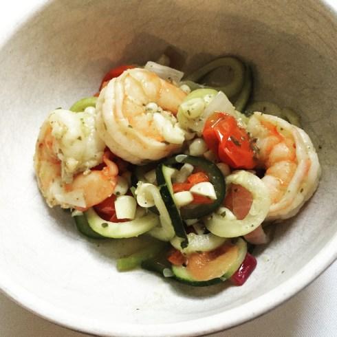 Final plate - Shrimp Zoodles Pesto