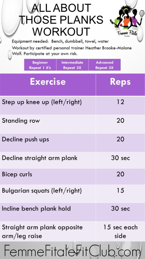 All About Those Planks workout routine