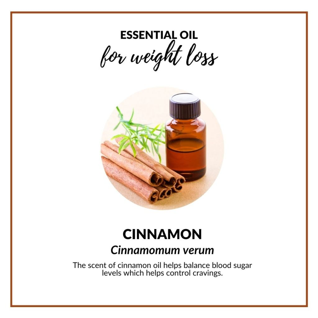 The scent of cinnamon oil helps balance blood sugar levels which helps control cravings. #essentialoil #essentialoilforweightloss #appetitesuppresant #selfcare