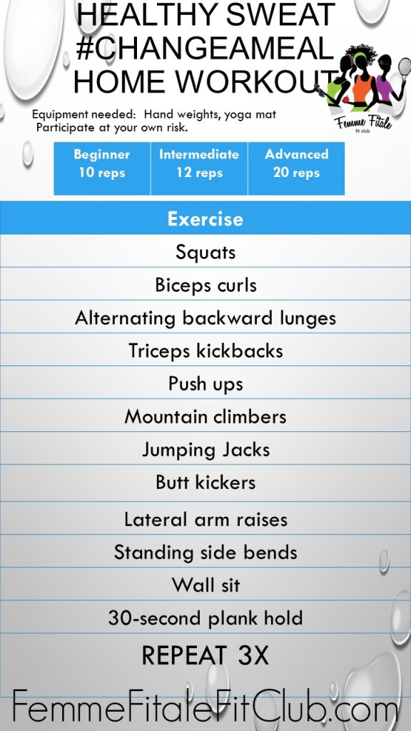 Healthy Sweat #ChangeAMeal Home Workout