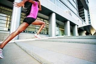 black woman sprinting