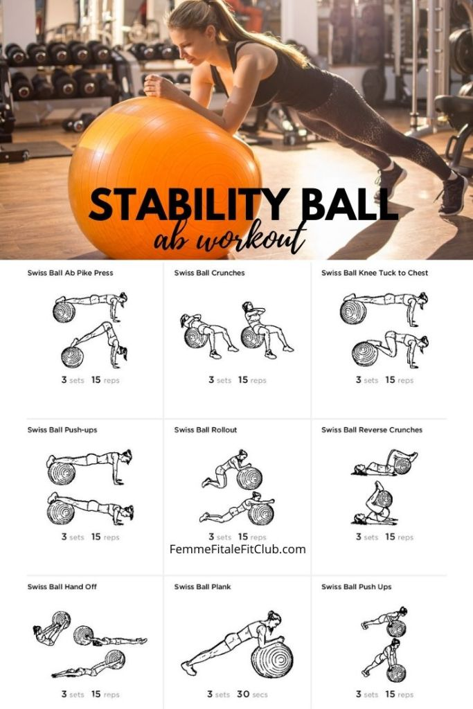 Grab your stability ball and exercise your core with this ab workout you can perform at home.  #stabilittyball #abworkout #abcircuit #swissball #stabilityballworkout #swissballworkout #stabilityballabworkout