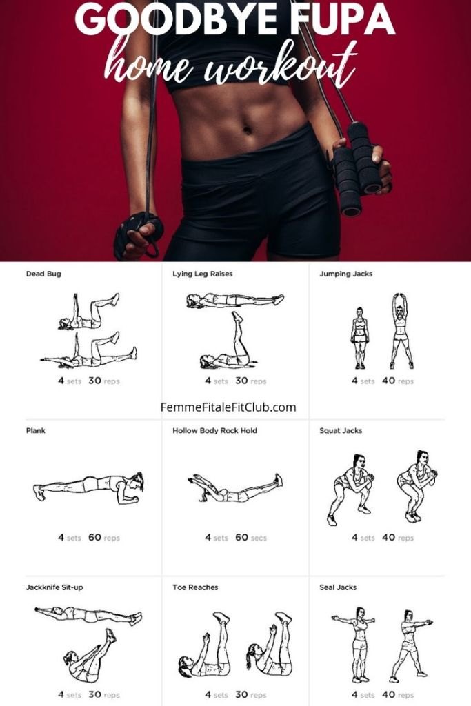 Whether you recently gave birth or enjoy one too many pieces of cake, this goodbye fupa workout can be done at home or the gym to tighten and tone your lower abs in no time. The exercises strengthen your core and the cardio burns the fat hiding your abs. #nofupa #fupablaster #cardio #integratedcardio #health #workoutsforwomen #hiitworkoutsforwomen #hiitworkouts #lowerbelly #bellypooch #muffintop #lowerbellypoochblaster #bellypoochworkout #belly #athomeworkout #homeworkout