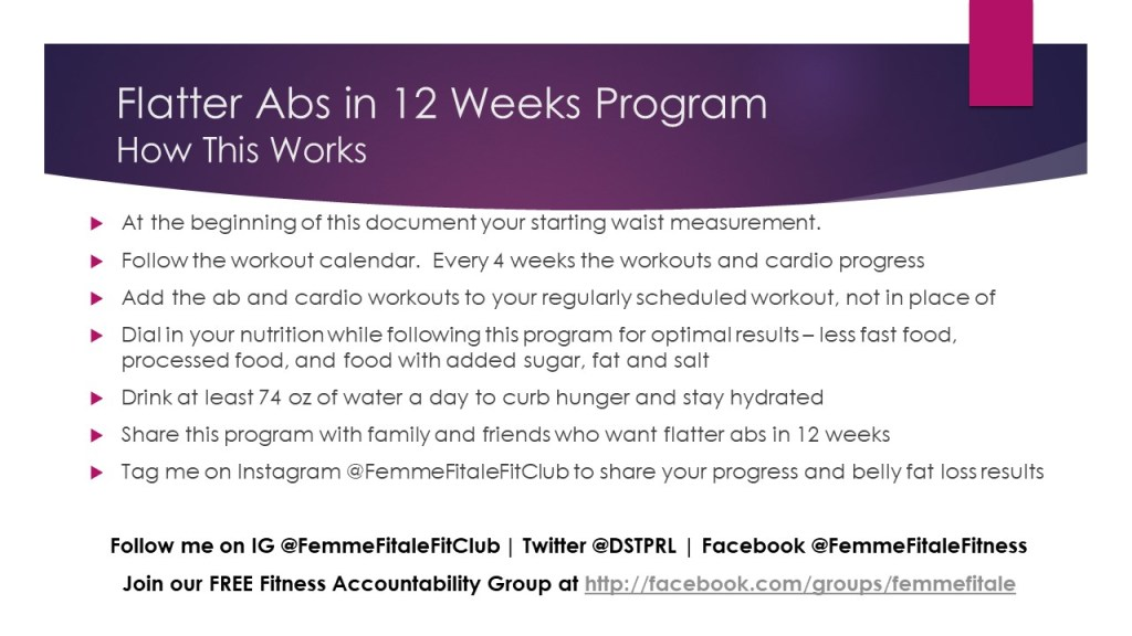 flatter abs in 12 weeks instructions