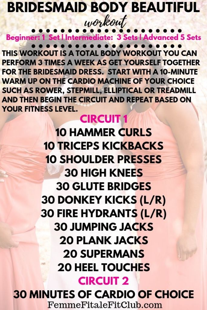 Are you a bridesmaid in an up and coming wedding?  Perform this bridesmaid body beautiful workout 3 times a week to make sure you fit the dress and look smashing in the photos.   #bridetobe #bridetobeworkout  #bridalbootcamp #shreddingforthewedding #sweatingforthewedding #bridesmaidworkout #brideworkoutplan #bridesmaidbootcamp #womensworkout #fitfam
