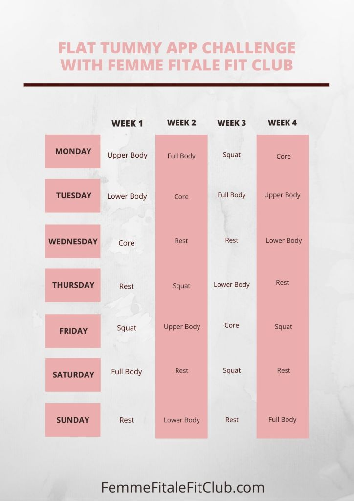 Download and workout with the Flat Tummy App for 4 weeks.  Want a schedule of the workouts laid out for you?  Then follow this challenge calendar, download it or share on Pinterest as well as share with friends and have them join you.  #flattummychallenge #flattummyapp #flattummy #fitnessapp #workoutapp #exercises #womenshealth #exercisesforwomen