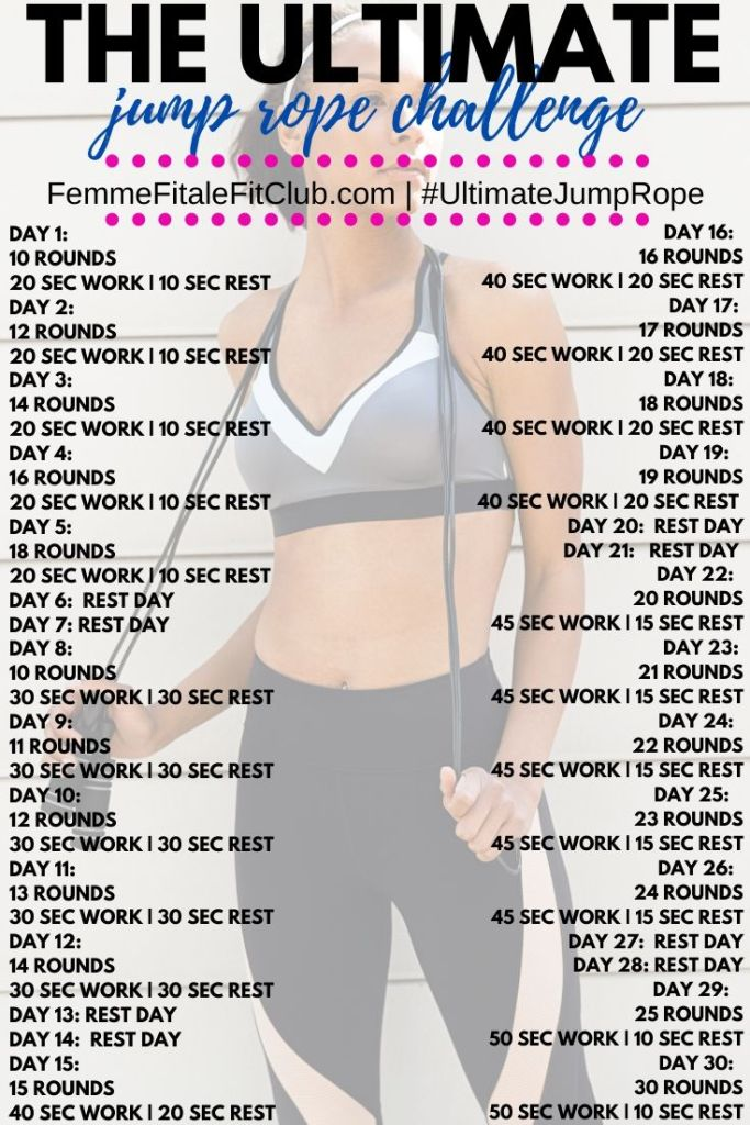 Build up your endurance over the course of 30 days with this ultimate jump rope challenge. You will go from jumping 5 minutes a day up to a full 30 minutes. Try it. #jumpropechallenge #cardio #health #healthy #fitness #burnfat #jumpropeforfitness