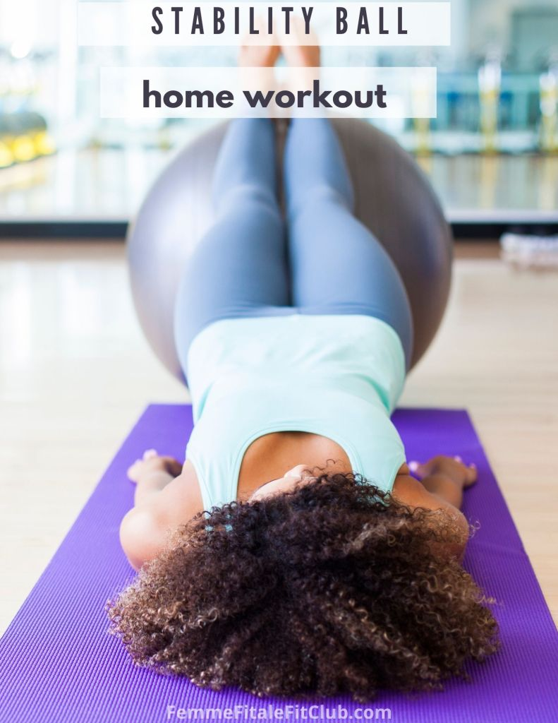 Strengthen your core and improve your balance and stability with this stability ball workout you can do at home. #fitness #exercise #athomeexercise #swissball #stabilityballworkout #exerciseball