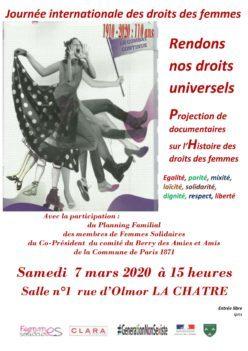 """La Châtre – Projection de documentaires sur l'Histoire des droits des femmes """"Rendons nos droits universels"""""""