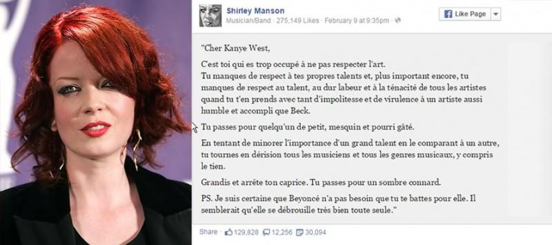 Post facebook de Shirley manson traduit en fr