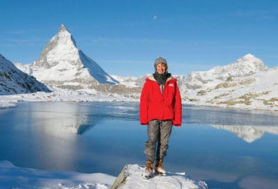 Devant Cervin - Nathalie Hagenmuller marraine promotion 2016 guides haute montagne