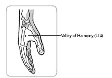 acupressure point 1 for menstrual cramps: valley of harmony LI-4 between thumb and finger