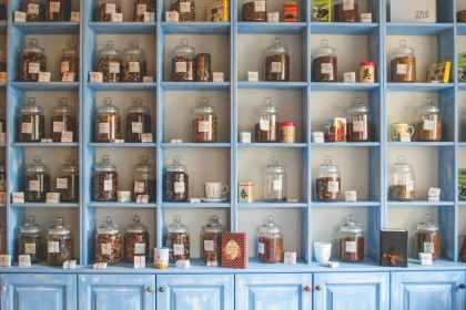 individualised jars of Chinese herbs