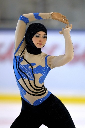 Emirati junior figure skater Zahra Lari performs during the figure skating European Cup on April 12, 2012 in Canazei, northern Italy. 17-year-old Lari becomes the first Emirati figure skater to compete in an international competition with skaters from 50 countries taking part in the European Cup from April 9 to 13. AFP PHOTO/ANDREA SOLERO (Photo credit should read Andrea Solero/AFP/Getty Images)