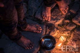 Persecuted Minority Group Yazidis Celebrate Sere Sal, Or Yazidi New Year With Oil Lamps In Lalish, Iraqi Kurdistan. It Is Forbidden To Wear Shoes Near The Temple, So They Are Bare Foot. 19th April 2017
