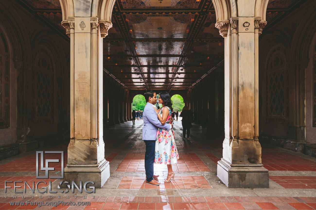 New York City Engagement Bethesda Fountain Indian Wedding