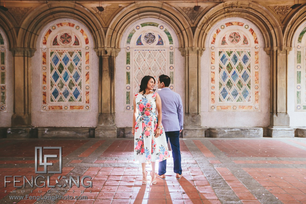 New York City Engagement Bethesda Terrace Indian Wedding