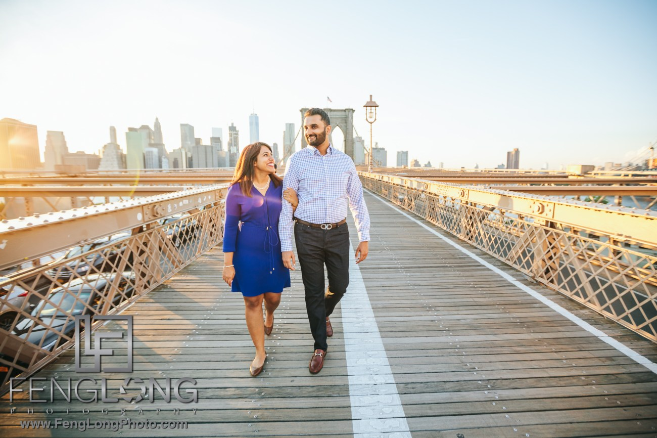 Brooklyn Bridge New York City Indian Engagement Photography