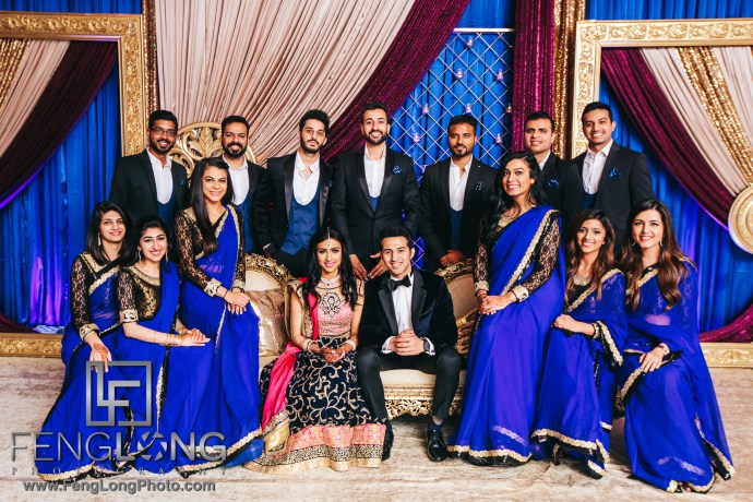 Indian wedding reception bridal party group photo