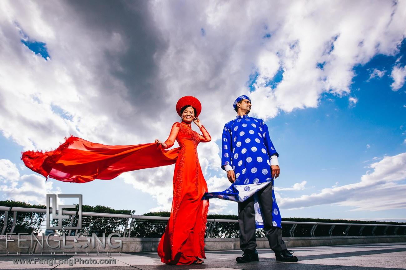 Fusion Vietnamese Indian Wedding in Washington, DC Ceremony at JFK Performing Arts Center