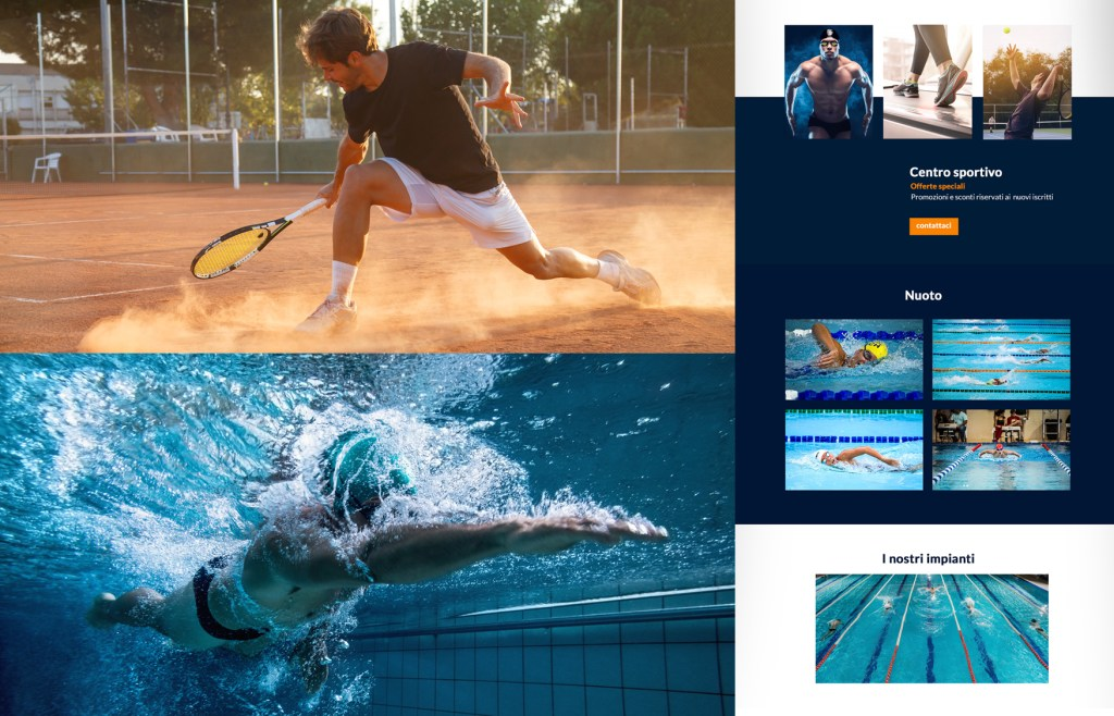 Centri sportivi, tennis, padel, piscina realizziamo siti web