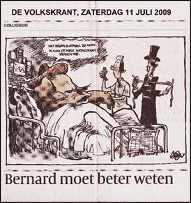Caricatura del brote de AH1N1 México. Periódico holandés De Volkskrant. 11 julio de 2009.
