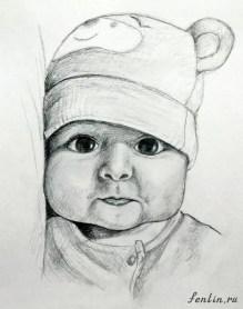 Портрет карандашом малыша в шапочке - Fenlin.ru