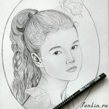 Портрет карандашом девочки с бабочками (фото) - Fenlin.ru