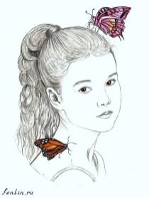 Портрет карандашом девочки с бабочками (скан) - Fenlin.ru