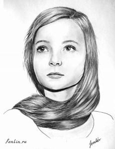 Портрет карандашом девочки с длинной косой (фото) - Fenlin.ru