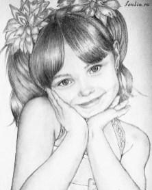 Портрет карандашом девочки с косичками - Fenlin.ru